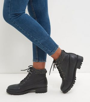 black cuffed lace up boots