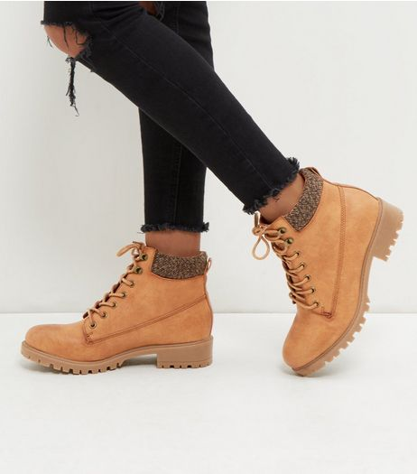 Tan Cuffed Lace Up Boots  | New Look