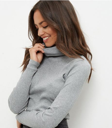 Grey Ribbed Turtle Neck Jumper  | New Look