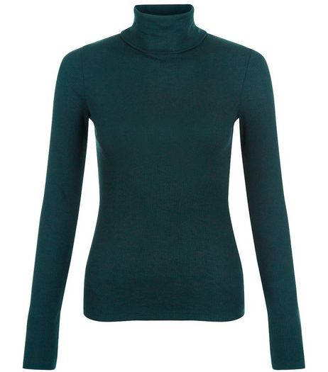Dark Green Long Sleeve Turtle Neck Top | New Look