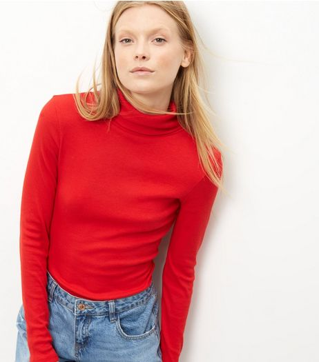 Red Ribbed Turtle Neck Jumper  | New Look