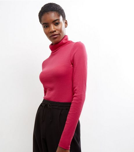 Bright Pink Ribbed Turtle Neck Jumper  | New Look
