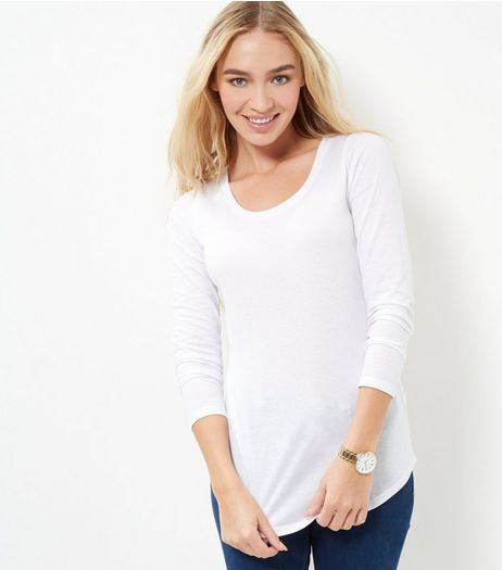 White Scoop Neck Long Sleeve T-Shirt | New Look