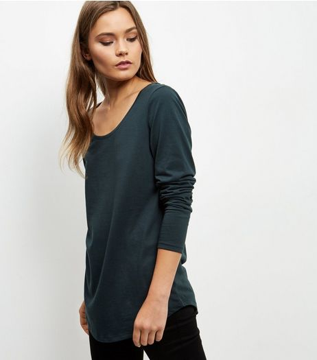 Dark Green Curve Hem Long Sleeve Top  | New Look