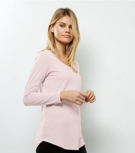 Pink Long Sleeve Curve Hem T-Shirt  | New Look