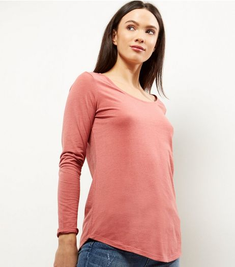 Pink Curve Hem Long Sleeve Top  | New Look