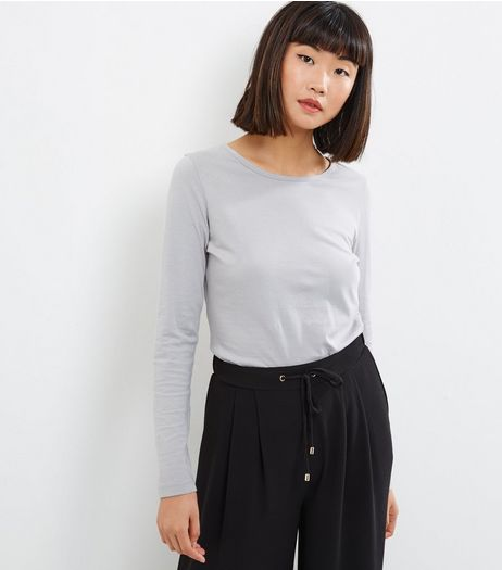Pale Grey Crew Neck Long Sleeve Top | New Look