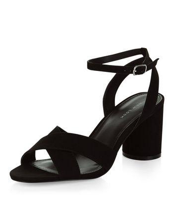 Sandalo  donna Black Suedette Cross Strap Heeled Sandals