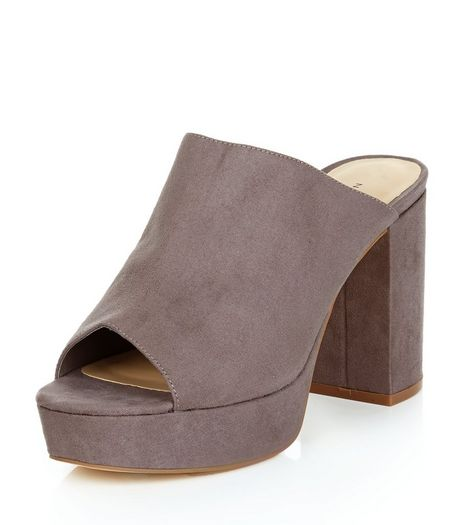 Grey Suedette Peep Toe Block Heel Mules  | New Look