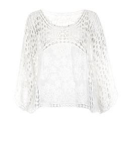 Cameo Rose White Crochet Bell Sleeve Top | New Look