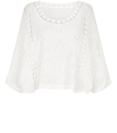 Cameo Rose White Crochet Panel Top | New Look