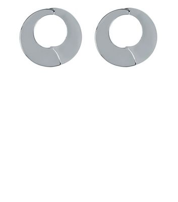 Silver Cut Out Disc Stud Earrings