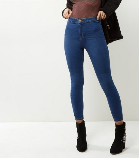Blue High Waist Super Skinny Hallie Jeans | New Look