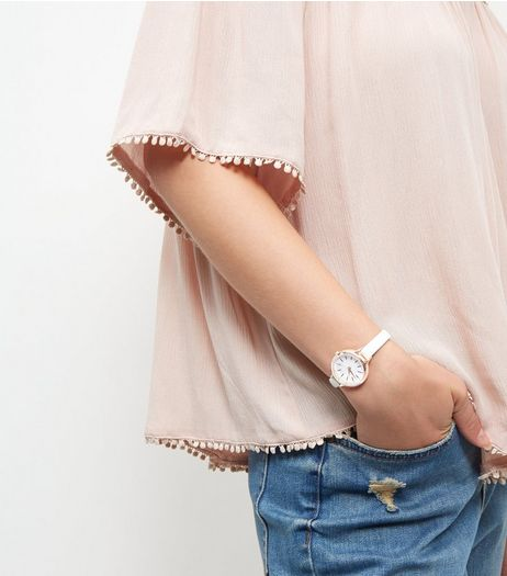 White Rose Gold Trim Watch | New Look