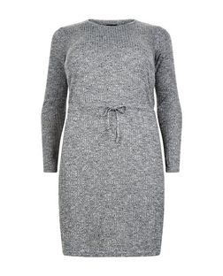 Curves Grey Ribbed Long Sleeve Dress | New Look