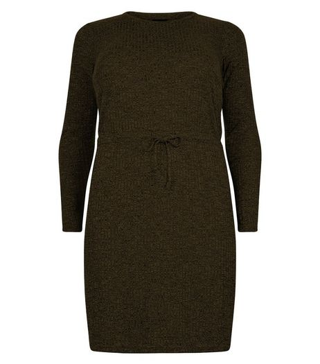 Curves Khaki Ribbed Long Sleeve Dress | New Look