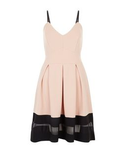 Cameo Rose Shell Pink Mesh Panel Strappy Skater Dress | New Look