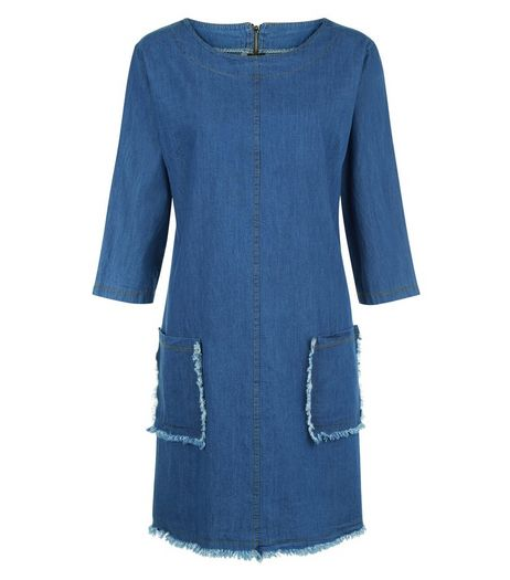 Loving This Blue Fray Hem Denim Dress | New Look