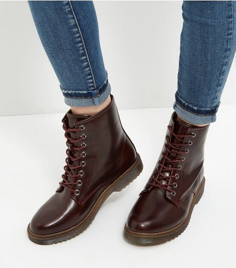 Burgundy Lace Up Ankle Boots  | New Look