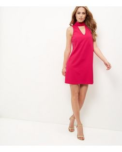 Bright Pink Cut Out Funnel Neck Shift Dress  | New Look
