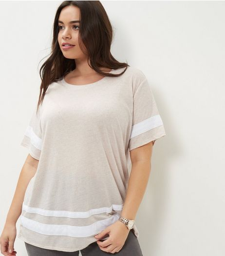Curves White Stripe Trim Boyfriend T-Shirt | New Look