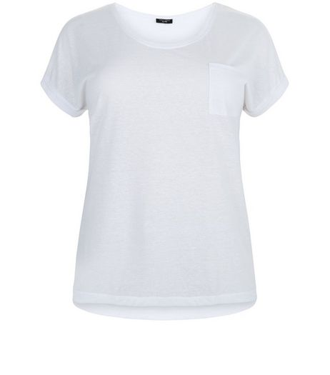 Curves White Pocket Front T-Shirt  | New Look