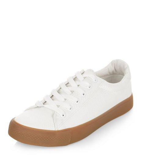 White Lace Up Contrast Sole Plimsolls | New Look