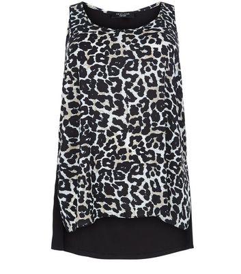 Curves Black Leopard Print Woven Vest
