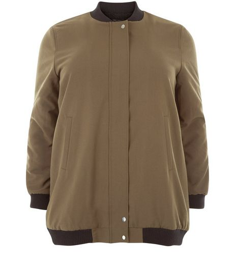 Curves Khaki Borg Lined Longline Bomber Jacket | New Look