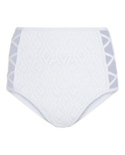 White Lace High Waist Caged Bikini Bottoms | New Look