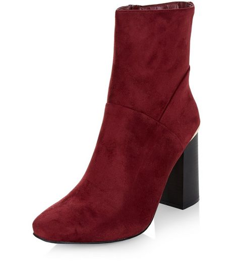 Red Metal Trim Block Heel High Ankle Boots | New Look
