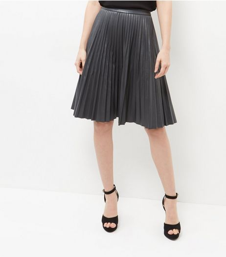 Grey Leather-Look Pleated Midi Skirt  | New Look