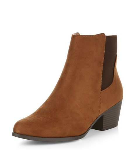 Tan Block Heel Chelsea Boots  | New Look
