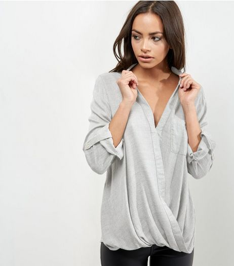 Pale Grey Wrap Shirt | New Look