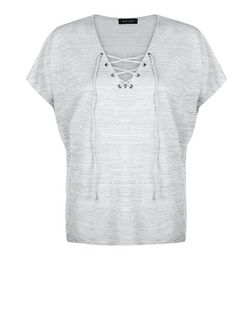 Pale Grey Fine Knit Lace Up Top | New Look