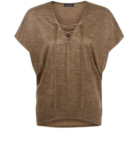 Khaki Fine Knit Lace Up Top | New Look