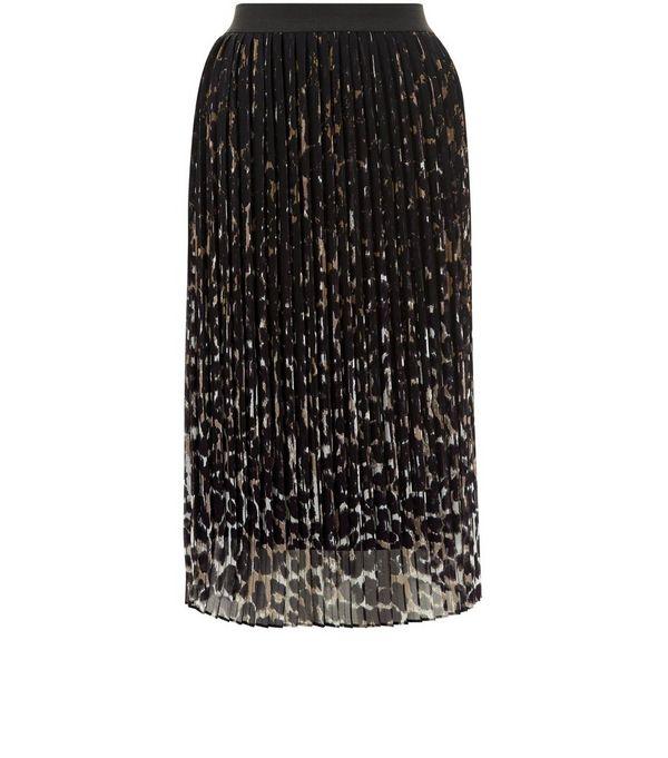 Black Animal Print Pleated Midi Skirt