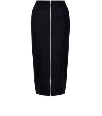 Black Ribbed Zip Front Midi Skirt