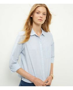 Blue Boxy Long Sleeve Shirt | New Look