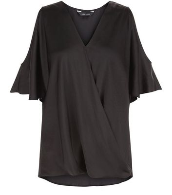 black-sateen-wrap-front-cold-shoulder-blouse