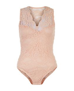Cameo Rose Shell Pink Lace Bodysuit | New Look