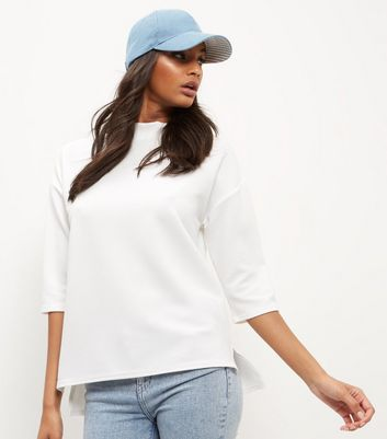 Cream Ribbed Funnel Neck 1/2 Sleeve Top