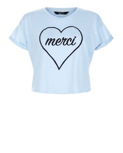 Teens Blue Merci Heart Print Crop Top | New Look