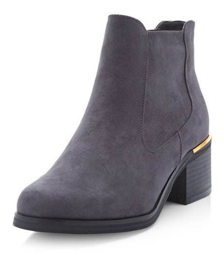 Teens Grey Block Heel Chelsea Boots  | New Look