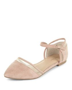 Nude Mesh Pointed Ankle Strap Pumps  | New Look