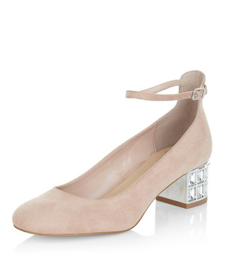 Nude Suedette Embellished Block Heel Sandals | New Look