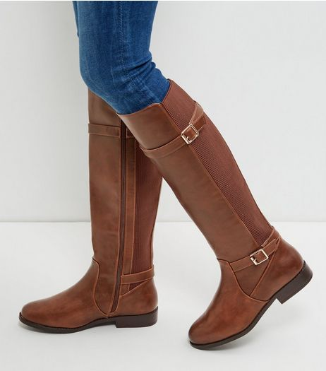 Wide Fit Tan Leather-Look Knee High Boots  | New Look