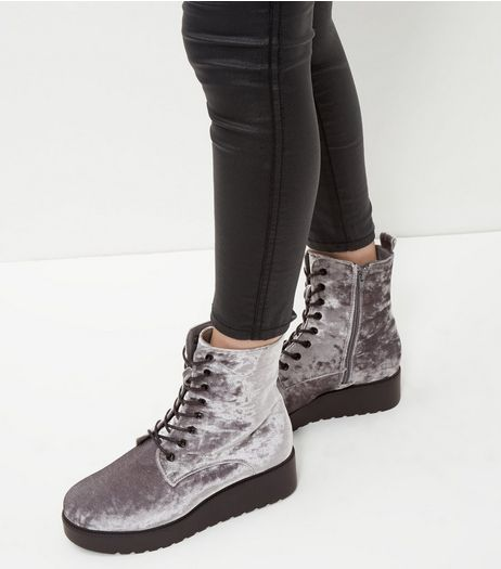Wide Fit Grey Lace Up Flatform Boots  | New Look