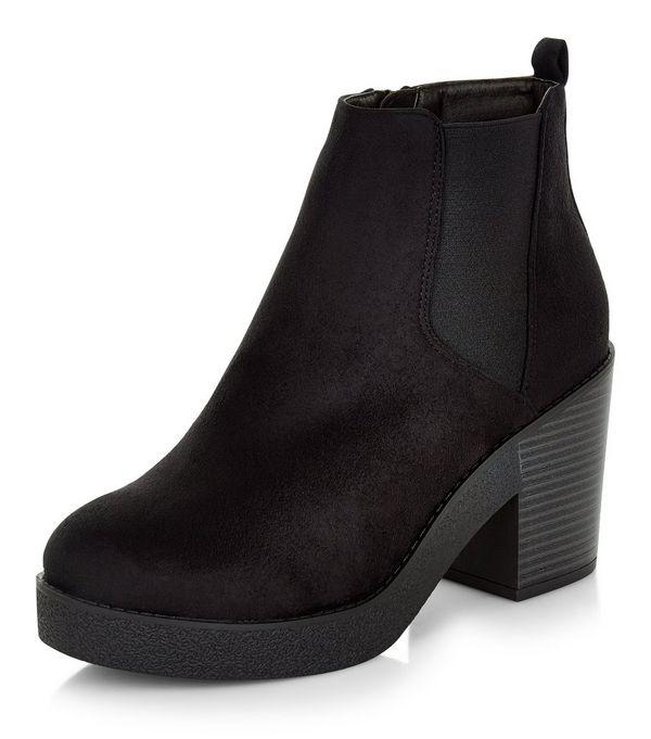 Wide Fit Black Suedette Block Heel Ankle Boots