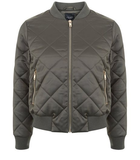 Petite Khaki Diamond Quilted Bomber Jacket | New Look